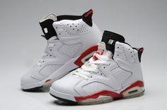 Men Air Jordan 6 Retro White Red Shoes