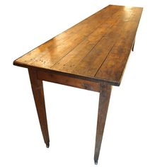 19th century French Oak Wine cellar table on wheels