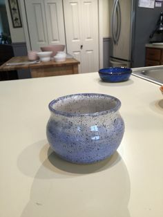 Carole's Pottery: Arctic Blue 3x over Snow Celadon 3x on recycled clay.
