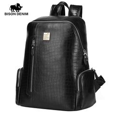 Genuine Leather Backpacks For Men and Women Casual Laptop Travel bag Top Layer Cowhide Crocodile Pattern