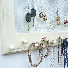 Jewelry Organizer Earring Storage and Organization Cottage Chic Shabby Distressed in Antique White on Etsy, $39.00