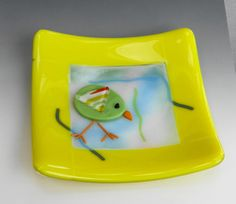 Yellow Spring Dish Fused Glass Plate Fused Glass Dish by GlassCat
