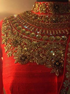 Zardorasi Work Blouse Zardosi Embroidery, Hand Work Embroidery, Couture Embroidery, Embroidery Motifs, Gold Embroidery, Hand Embroidery Designs, Zardosi Work Blouse, Bridal Blouse Designs, Passementerie
