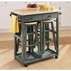 Kitchen Island Breakfast Bar from Through the Country Door® Rolling Kitchen Island, Stools For Kitchen Island, Kitchen Nook, Apartment Kitchen, Kitchen Carts, Home Room Design, Home Interior Design, Kitchen Design, House Design