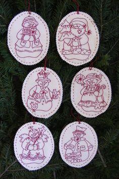 Snow Buddies RedWork Ornaments