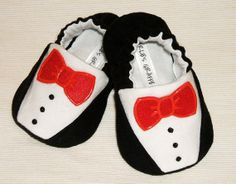 Baby Booties - Newborn, Infant, Baby Slippers, Crib Shoes, Footwear, 0 - 18 Months - Tuxedo Booties