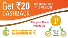 """Use Coupon Code: PRIME20 Cubber has Launched the """"Prime Member"""" Offer from 15 to 18 june 2017. You can get 20 Rupees Cash back on Recharge of 100 Rupees or more or by adding Rs.100 or more in your Cubber wallet  Call / Whats App: (+91) 99099 18080 Download, Install and Register the Cubber App Now! Download Cubber Android App: https://play.google.com/store/apps/details?id=com.dnk.cubber Download Cubber iPhone App: https://itunes.apple.com/in/app/cubber/id1171382587?mt=8 Watch Video…"""