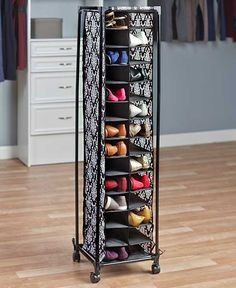 "The 28-Pair Fashionable Shoe Storage unit neatly organizes your footwear. Each pair fits in its own cubby and is easy to find. Features 4 wheels on bottom, two of which lock in place. 12-3/4"" sq. x 53"