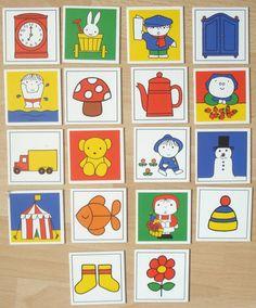 Vintage memory kaarten Nijntje, karton, hobbymateriaal, 6 x 6 cm, 18 stuks  [a] by LabelsAndMore on Etsy