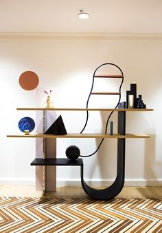 STUDIO UNRAVEL(스튜디오언라벨)  tamburins (탬버린즈) Shelf Furniture, French Furniture, Design Furniture, Furniture Removal, Shelving Design, Storage Design, Shelf Design, Lobby Interior, Cafe Interior