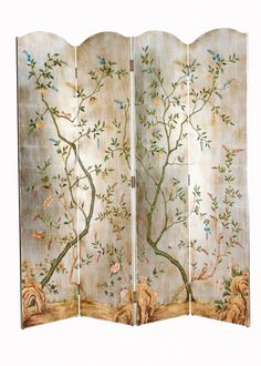 """Inspired by nature's beauty, this exquisitely painted screen will make a statement in any house. The screen measures 72""""W X 78""""H. Click on image for greater detail.  This item ships via motor freight."""