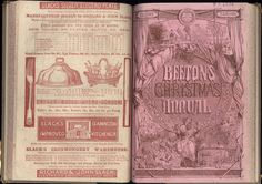 """Beeton's Christmas Annual. The British Library copy is at shelf mark PP6704. Published by S O Beeton. The image shows the papeer covers: the lower cover verso of the 1861 Annual and the upper cover recto of the 1862 Annual. The cover is signed: """"T. Sulman Dt"""" [i.e Thomas Sulman], and """"H. N. Woods St."""" This design is printed on the Annuals for 1st, 2nd, 4th, 5th, 6th seasons."""