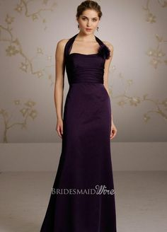 plum chiffon halter neckline a-line long bridesmaid dress