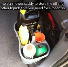 Car caddy.   Great idea for a road trip