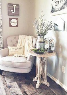 23 Rustic Farmhouse Living Room Decor Ideas #HomeDecorIdeas, #ChairForLivingRoom #LampLivingRoom
