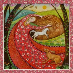 Goddess Festival - Beltane -1st May - Artist: Wendy Andrew - Rhiannon the lover, dances the blossoms into being! White horse maiden brings joy, creativity and a lust for life! A time of love and celebration!""