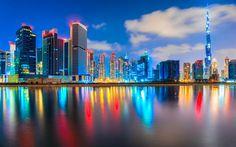 Hämta bilder 4k, Förenade ARABEMIRATEN, natt, Burj Khalifa, moderna byggnader, båtar, Dubai