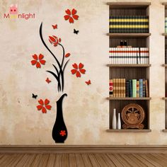 Wall Stickers Acrylic 3D Plum Flower Vase Wall Stickers Home Decor Wall Decal Red Floral Wall Sticker -  http://mixre.com/wall-stickers-acrylic-3d-plum-flower-vase-wall-stickers-home-decor-wall-decal-red-floral-wall-sticker/  #WallStickers