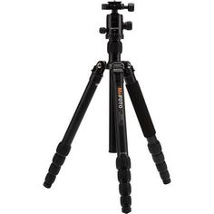 """MeFOTO GlobeTrotter Aluminum Travel Tripod Kit, 5 Sections, 26.45 lbs Load Capacity, 64.17"""" Max Height, Includes Double Action Q2 Ball Head with Quick Release, Carry Case, Black"""