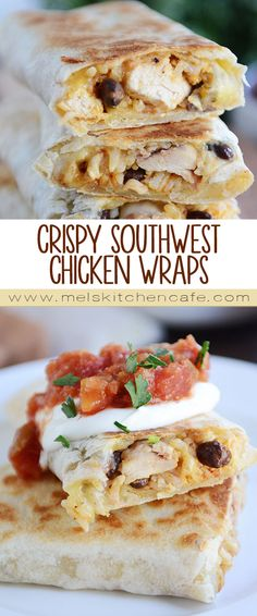 Crispy Southwest Chicken Wraps These southwest crispy chicken wraps are delicious, easy to make, and so versatile! It's no surprise they've been on our steady meal rotation for many years! Good Healthy Recipes, Healthy Foods To Eat, Healthy Eating, Simple Recipes, Free Recipes, Tostadas, Tacos, Southwest Chicken Wraps, Crispy Chicken Wraps