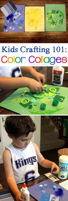 This fun, easy preschool Color Collage Art Activity will keep the kids entertained for hours (with minimal adult assistance needed). See how to make this messy kid's craft via @hihomemadeblog.