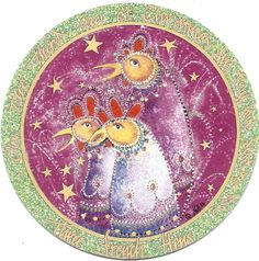 """Three French Hens"" by P Buckley Moss. Porcelain Ornament. Issued 1996. Diameter: 3-5/16 ins.  $85. #canadagoosegallery #waynesvilleohio #pbuckleymoss #pbuckleymossart #gifts #giftitems #;porcelainornaments #porcelainchristmasornaments #christmasornaments #frenchhens #twelvedaysofchristmas"