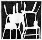 "(Week3/4)This is a negative space study with chairs. I thought the composition of the study made this good art. I like the arrangement of the chairs and the position of the negative spaces. It makes me think ""organized chaos"""
