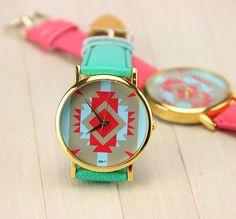 Turquoise Indian Print Ladies Quartz Watch
