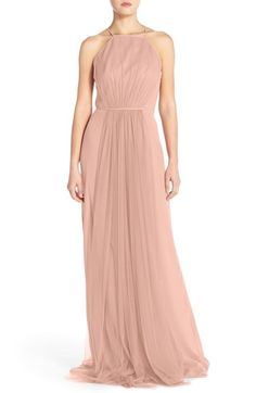 Monique Lhuillier Bridesmaids Chiffon & Tulle Halter Gown available at #Nordstrom (Color: Shell)