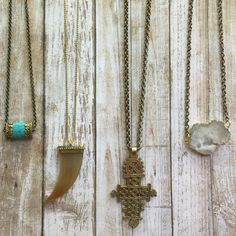 #bohemiannecklaces #layerthem @stellargirlzshop Necklaces with turquoise horn cross and Druzy pendants made to layer! #LoveH2H #have2haveit