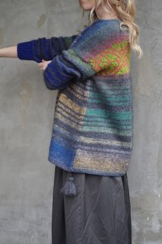 """Свитер - пончо """"Цветные сны хиппи"""". : ru_knitting"""