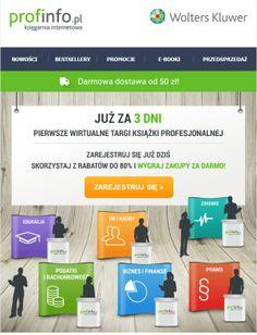 3 dni - tyle czasu zostało do pierwszych Wirtualnych Targów Książki Profesjonalnej na profinfo.pl. Wyjątkowa promocja w dniach od 22 maja do 6 czerwca w Księgarnia Profinfo Biznes. Wygraj zakupy za darmo. Sprawdź na: http://goo.gl/eWqnwK