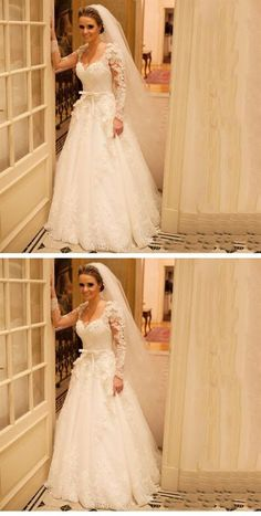 White A Line Sweetheart Long Sleeves Lace Wedding Dresses Bride Gown Inexpensive Bridesmaid Dresses, Cheap Wedding Dresses Online, Pink Wedding Dresses, Affordable Wedding Dresses, Lace Mermaid Wedding Dress, Lace Wedding, Bridal Dresses, Dream Wedding, Different Wedding Dress Styles