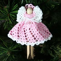 Crocheted Angel Holiday Christmas Tree Ornament
