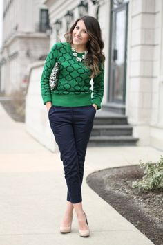 Printed crew neck sweater, statement necklace, navy skinny pants, nude wedges