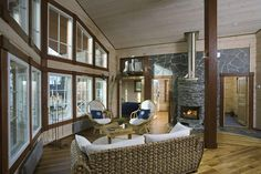 Finnish log home House In The Woods, Log Homes, Beautiful Homes, Patio, Outdoor Decor, Room, Furniture, Home Decor, Rum