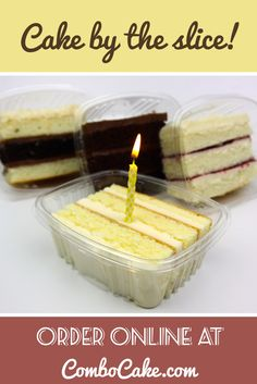 Gourmet ingredients that you can taste. Our slices come individually packaged and arrive ready-to-eat, we even include the forks! Simply pop the top and indulge. Our single serving packaging allows you to easily keep the cake fresh without the mess. Each order comes with free two day shipping and a free personalized gift message.