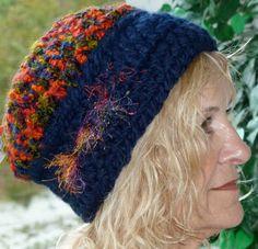 Crochet Winter Skullcap Hat in Blue and Orange  by hatsbyanne1942, $30.00