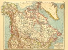 Canada and Alaska Vintage Map 1922 by CarambasVintage on Etsy, $38.00