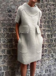 Solid Pockets Sweater Knee-Length Shift Dress - Floryday - New Ideas Knit Fashion, Look Fashion, Fashion Outfits, Fashion Coat, Sweater Fashion, Fashion Trends, Womens Fashion Online, Latest Fashion For Women, Knee Length Dresses