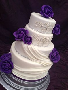 Draped wedding cake deep Cadbury roses