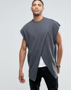 ASOS Super Oversized T-Shirt With Crossover Front In Heavy Jersey