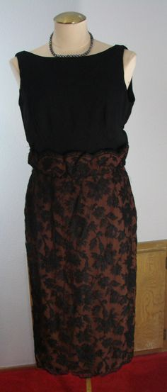 Vintage 60s Sexy Black & Brown Cocktail Dress 38-30-42 Wiggle dress by TheScarletMonkey on Etsy