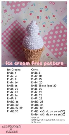 ice cream free crochet pattern by tumblr blogger Abbygale