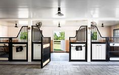 Learn more about this simple, but stunning barn transformation. A storage barn is converted into a two-stall barn for DarkHorse's newest horses. Equestrian Stables, Horse Stables, Horse Farms, Schleich Horses Stable, Dream Stables, Dream Barn, House With Stables, Luxury Horse Barns, Barn Stalls