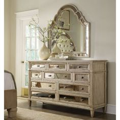 Hooker Furniture Sanctuary 10 Drawer Mirrored Dresser - Dressers at Hayneedle