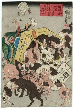 Utagawa Kuniyoshi: Tokuyô muki inu no sanwari - Museum of Fine Arts
