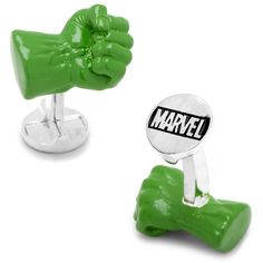 Marvel 3D The Incredible Hulk Fist Cuff Links ($135) ❤ liked on Polyvore featuring men's fashion, men's accessories, cuff links and green