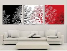 Cheap wall pictures, Buy Quality painting abstract directly from China hand painted Suppliers: Red White Black Tree paintings HAND PAINTED Modern Decoration Wall Art Oil Painting Abstract Classical Gift wall Picture Red Wall Art, Black And White Wall Art, Black And White Painting, Black White, Triptych Wall Art, Tableau Design, Living Room Red, Bedroom Red, Red Rooms