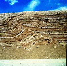 Geological folding involves the plastic deformation (bending, buckling) of a single or multiple strata, such as sediments and rocks, which were originally horizontal surfaces. Although even brittle rocks may undergo plastic deformation when stresses are applied over considerable periods of time (low strain rate). Beyond plastic deformation, rocks fail structurally and faulting occurs.